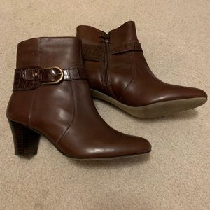 Anne Klein II Akgansee Brown Leather Upper Boots